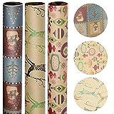 Yuson Girl Grande Feuilles de Papier Cadeau de Noël Christmas Xmas Papier Kraft d'emballage Cadeau de Noël Motif Renne du Gui Flocons Neige Snow pour Présent Cadeau de Noël Anniversaire
