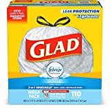 Glad OdorShield Tall Kitchen Drawstring Fresh Clean Trash Bags, 13 Gallon, 110 Count
