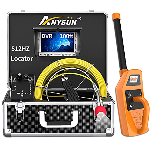 Sewer Camera with Locator, Anysun 100ft Inspection Camera with 512Hz Sonde Transmitter and Receiver Plumbing Camera Snake with DVR and 7' LCD Monitor IP68 Waterproof Pipe Inspection Camera(100ft/30m)