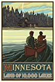 Minnesota Lake Canoers Forest Cabin Travel Art Print Poster