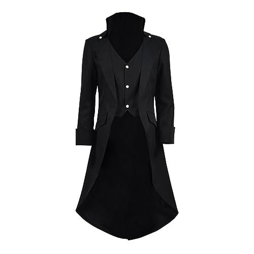 eeaf4387f0c Very Last Shop Mens Gothic Tailcoat Jacket Black Steampunk Victorian Long  Coat Halloween Costume