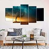 KOPASD Arts – 5 Piezas de Lienzo de Arte de Pared Naturaleza del Elemento del Viento Tornado Cuadros de Lienzo Moderno Giclée para decoración del hogar (tamaño Grande 200 x 100 cm)