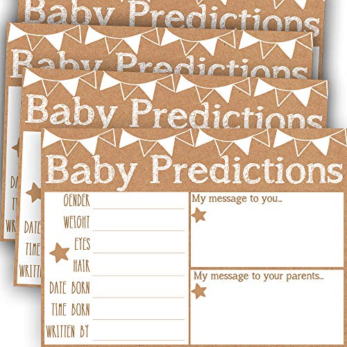 "Baby Shower Prediction and Advice Cards, Baby Shower Predictions, Baby Shower Game Advice Cards for Girl or Boy, Pack of 50 Extra Large 5x7"" Cards for Baby Shower or Gender Reveal Party"