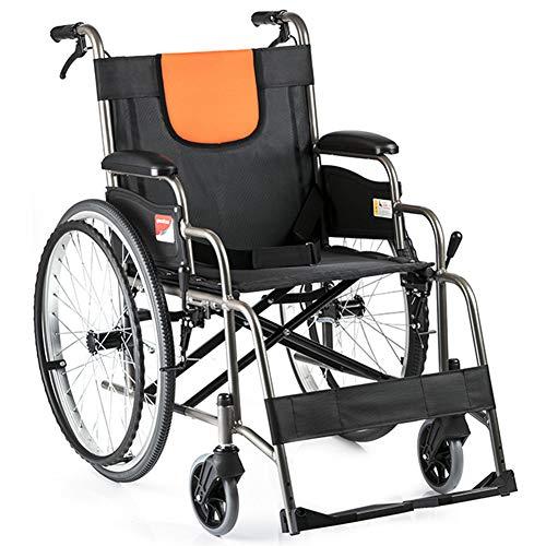GYPPG Portátil Aluminio Silla De Ruedas Ligero Doblez Manual Silla De Ruedas Scooter De Ancianos con Pedal Ajustable Carretilla, Ruedas Traseras De 22 Pulgadas, Apto para Discapacitados Ortopedía
