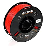 OVERTURE PLA Filament 1.75mm 3D Printer Consumables, 1kg Spool (2.2lbs), Dimensional Accuracy +/- 0.05 mm, Fit Most FDM Printer(Red)