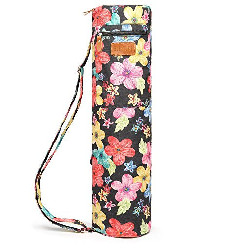 ELENTURE Full-Zip Exercise Yoga Mat Carry Bag with Multi-Functional Storage Pockets (Petals)