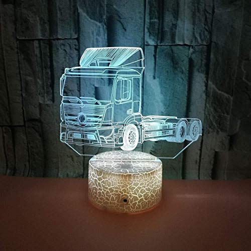 BZL POP Lámpara de camión 3D USB Power 7 Colores Increíble ilusión óptica 3D Grow LED Lamp Shapes Dormitorio para niños Luz Nocturna