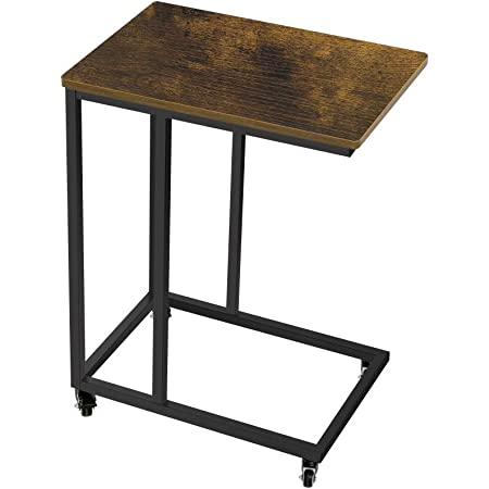 AZ L1 Life Concept Industrial Side Table mobile snack table for coffee laptop tablet, slides next to sofa couch, wood looks accent furniture with metal frame with wheel, easy move