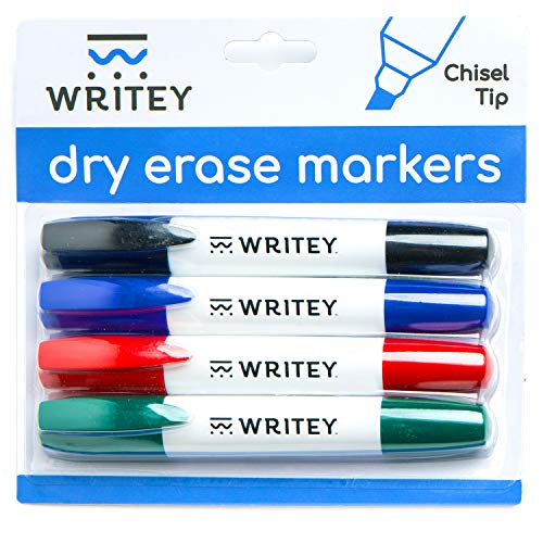 Dry Erase Marker, 4-Pack, Dry Erase White Board Markers - Red, Blue, Green, Black - Low Odor, Stain-Proof Markers for White board, Glass, Mirrors and All Glossy Surfaces