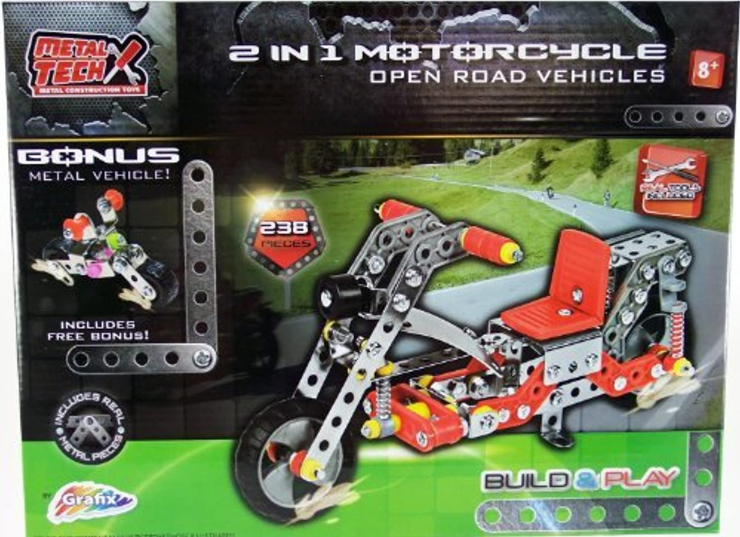 Metal Tech Construction Toys 195 Piece Motorcycle by Metaltech