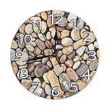 Mailine Reloj de Pared Redondo Guijarros Naturales Reloj de Pared Redondo Silencioso No Funciona con Pilas Fácil de Leer Arte Decorativo del Reloj