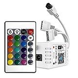 Controlador de tira LED RGB de 10 m/5 m con 2 enchufes, compatible con Alexa y Google Home, mando a distancia y temporizador inalámbrico de smartphone para todas las tiras LED RGB