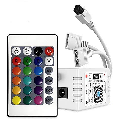 WIFI Controller RGB 10M / 5M mit 2 Steckdosen, kompatibel mit Alexa und Google Home, kabellose Fernbedienung/Timer von Smartphone, für alle RGB LED-Streifen