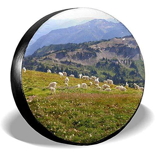 Not applicable Mountain Goats Herd Sonnenschutz Universal Reserverad Autoreifenabdeckung für Wohnwagen Wohnmobil, SUV, Wohnmobilzubehör und Verschiedene Fahrzeuge 16 Zoll