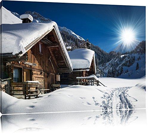 Verschneite Alpenhütte Format: 100x70 auf Leinwand, XXL riesige Bilder fertig gerahmt mit Keilrahmen, Kunstdruck auf Wandbild mit Rahmen, günstiger als Gemälde oder Ölbild, kein Poster oder Plakat