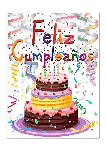 Feliz cumpleaños Geburtstagskarte mit spanischer Aufschrift, Format A5 (148 x 210 mm), doppelseitig, blanko, 350 g/m², mattes Papier