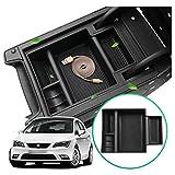 RUIYA para Seat Leon Cupra 5F MK3 Consola central Caja de almacenamiento Reposabrazos Organizador Bandeja Accesorios para automóvil (Negro)