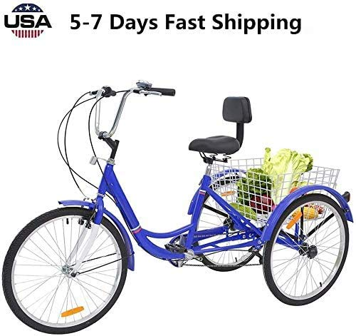 Best Buy! JUNLIN Shipment Adult Tricycles 7 Speed, Adult 24 Inch Mountain Trikes, 3 Wheel Bikes Bicy...