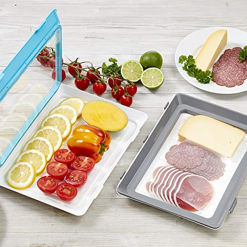 Durandal Boite a Lunch Box Click & Fresh I Lot de 2 Plateaux de Conservation Alternative à Film Plastique Alimentaire I Film Alimentaire reutilisable (Gris/Bleu)