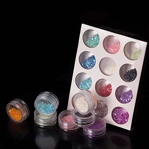 MZP Vernis à ongles 12 boîtes pour faire des outils décoratifs aux ongles avec des décorations en bijoux , a box of 12 colors