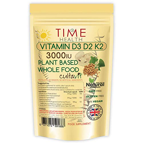 Vitamin D3, D2, K2, Natural Wholefood Plant Based 3000IU - Zero Additives - Pullulan (120 Capsule Pouch)