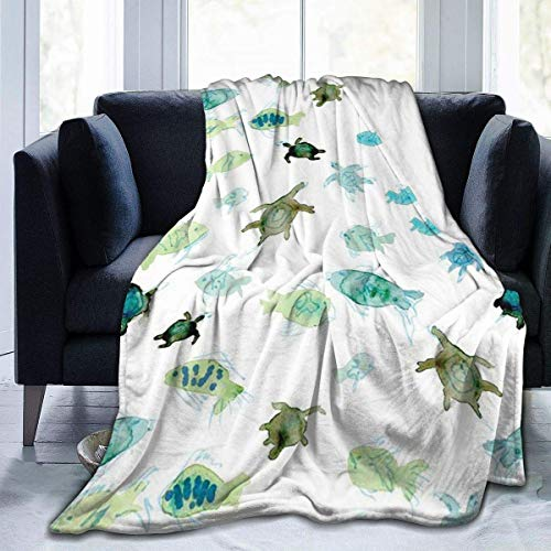 huatongxin Fish Turtle Watercolor Pattern Flannel Fleece Throw Blanket - Soft Light Weight Blanket for Bed Couch and Living Room Suitable for Fall Winter and Spring