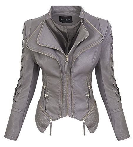 Rock Creek Damen Kunstleder Jacke Übergangs Jacke Leder Optik Bikerjacke D-365 [WS-967 Grey L]