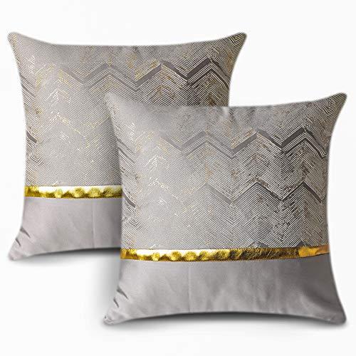 Artscope 2er Set Kissenbezug für Sofa Auto Schlafzimmer Luxuriöser Moderne Minimalist Goldenen Ledernähten Wellenstreifen Dekokissen Kissenhülle Kissen Fall 45x45cm (Silber)