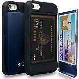 TORU CX PRO iPhoneSEケース カード 収納背面 3枚 IC Suica カード入れ カバ― ミラー付き (アイフォン SE/アイフォン 5S / アイフォン 5 用) - ネイビーブルー