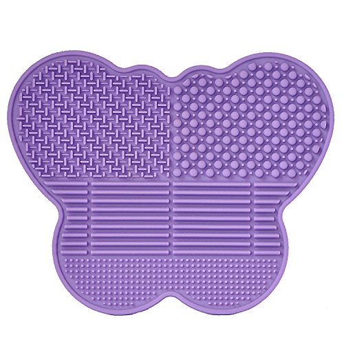 # 1 Silicone Makeup Brush Cleaning Mat -Butterfly shape Scrubber - Portable Beauty Washing Tool to Extend the Use of Your Make up and Art Painting Brushes - Best Cleaner Pad ! (Purple)