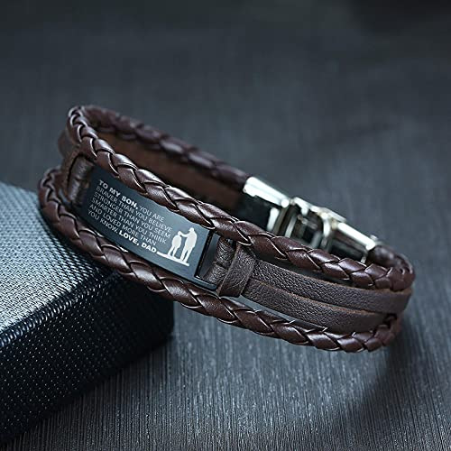 Classic style Jewellery Bracelet Men Stylish Triple Layers Leather Bracelets For Dad Mom With Stainless Steel Bar Engrav
