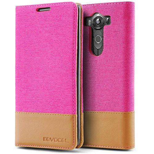 LG V10 Case, Evocel [Folio Case] Canvas Material Case with Magnetic Closure & Kickstand for LG V10 (H901), Pink (EVO-LGV10-FC2T05)