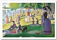 世界の名画・スーラ グランドジャット島の日曜日 ジークレー技法高級ポスター (A2/420ミリ×594ミリ)