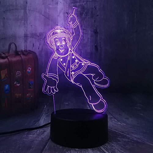 Nouveau Pompier Sam Pompier Veilleuse 3D Led USB Table Lampe de Bureau Décor À La Maison De Noël Cadeau Affichage Ampoule Jouets Cadeau D'anniversaire