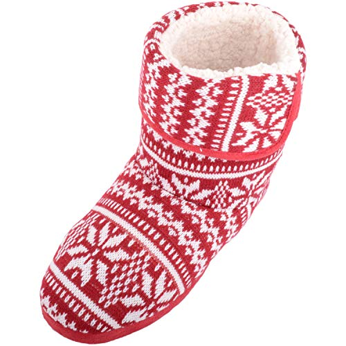 SNUGRUGS Mens Knitted Style Warm Fleece Lined Slipper Boots/Booties - Red - 9 UK