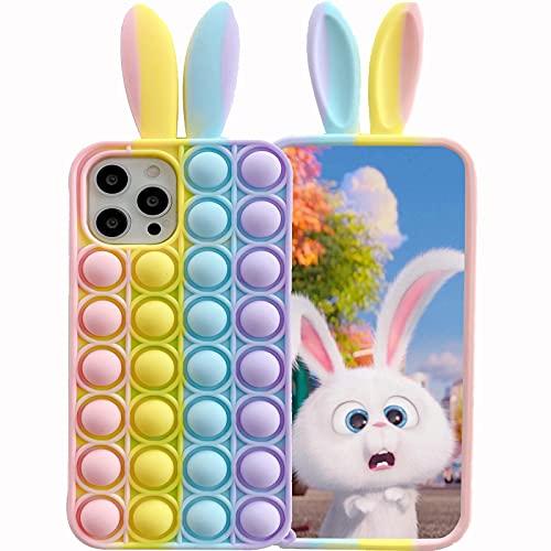 ESSTORE Funda para iPhone 8 Plus/7 Plus/6S Plus/6Plus, Push Bubble Sensory Fidget Toy Case Stress Ansiedad Alivio Protección Cubierta + soporte, orejas de conejo