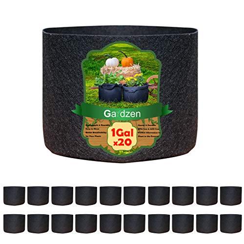 Gardzen 20-Pack 1 Gallon Nonwoven Grow Bags, Aeration Fabric Pots