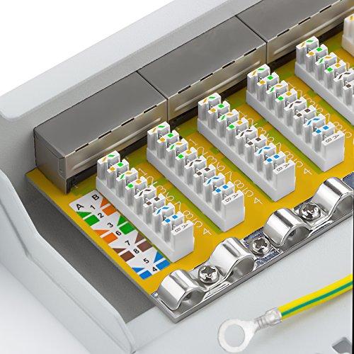deleyCON CAT 6 Patchpanel Verteilerfeld 12 Port - Desktop 10 Zoll Rackeinbau Servermontage - RJ45 - Geschirmt - TIA568A TIA568B Grau