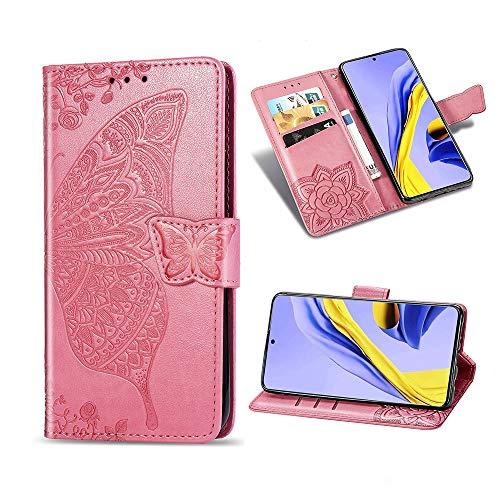 TOPOFU LG Velvet 5G Hülle Flip Lederhülle,Schmetterling Muster Magnetische PU Wallet Ledertasche mit Ständer Kartensteckplätze Handyhülle für LG Velvet 5G-Rosa