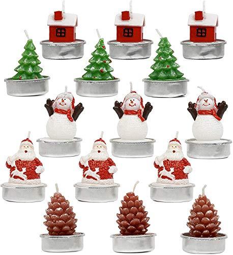 15 Weihnachten Teelichter Kerzen, 6,5x3,5cm| 5 Designs: Weihnachtsbaum Weihnachtsmann Schneemann Tannenzapfen Haus| Partys Dekoration Ornamente Mitbringsel Mitgebsel Geschenke.