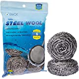 EleQit Stainless Steel Wool Scrubber Sponge Pack of 6 for Removing Tough Dirt, Grease, Oil or Stains from Dishes, Pots, Stovetops, Drip Pan, Cookware, Kitchenware
