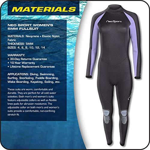 NeoSport Wetsuits Traje Completo de Neopreno 5mm de Calidad de Las Mujeres, Mujer, Lavender Trim