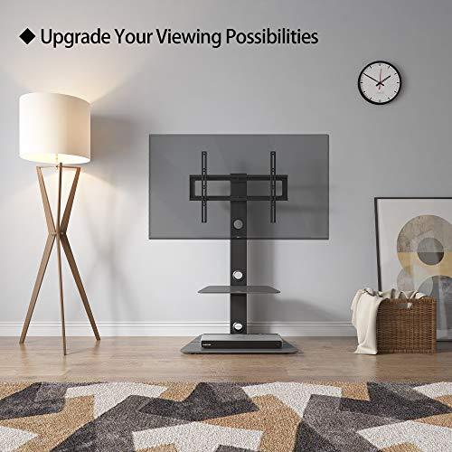 BONTEC Meuble TV Pied Orientable avec 2 Étagères en Verre Trempé pour 30-65 Pouces LED OLED LCD Plasma écran Plat Incurvé en Hauteur Réglable Max. VESA 600 x 400 mm jusqu'à 40 kg