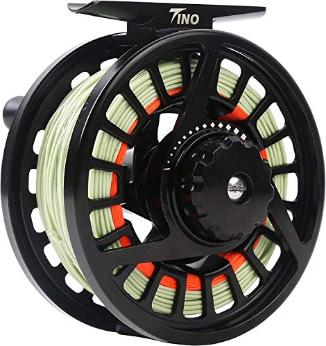 Maxcatch Tino Fly Fishing Reel (3/4wt 5/6wt 7/8wt) and Pre-Loaded Fly Reel with Line Combo (Reel with Line Pre-Loaded, 5/6wt)