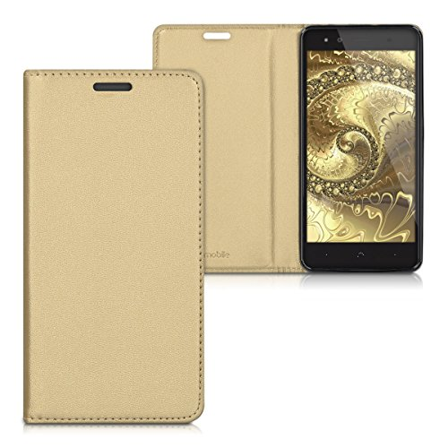 kwmobile Funda movil Compatible con bq Aquaris X5 Plus - Carcasa de Cuero sintético - Case en Dorado