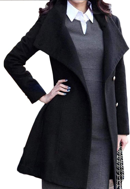 Alion Women's Winter Double Breasted Wool Parka Jackets Overcoat
