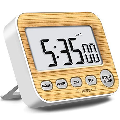 NEYOANN Temporizadores Digitales con Temporizador, Temporizador de Cocina con Reloj Despertador, Tienen un ImáN Fuerte y un Soporte Utilizado en un AvióN o AvióN de Metal (Color Madera)