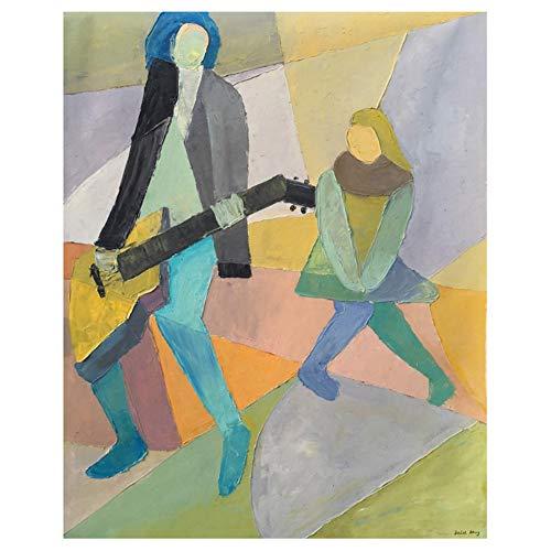Pintura contemporánea Reproductor de música Arte de la pared Pintura Arte abstracto de la lona Decoración de la sala de estar del hogar -60x80cm Sin marco