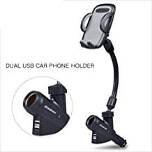 WWK Car Charging Stand, Car Phone Holder 2 USB Port Cigarette Rotatable Long Arm Folding Portable Suitable for Car Navigation Smartphones,Gray