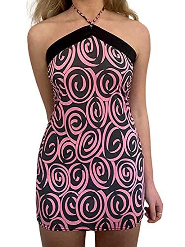Vestidos de verano para mujer, sin mangas, correa de espagueti E-Girls 90s Cami Dress Sexy Y2K Streetwear Sundress